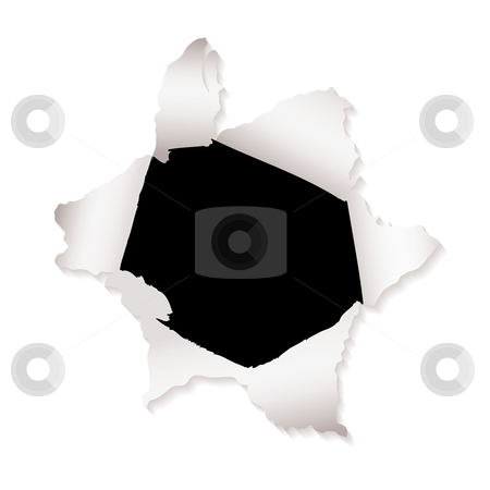 Paper hole explode stock vector clipart, White paper with torn paper hole and ripped elements by Michael Travers