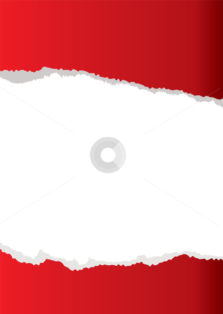 Red paper tear background stock vector clipart, Red abstract paper torn background with white copyspace by Michael Travers