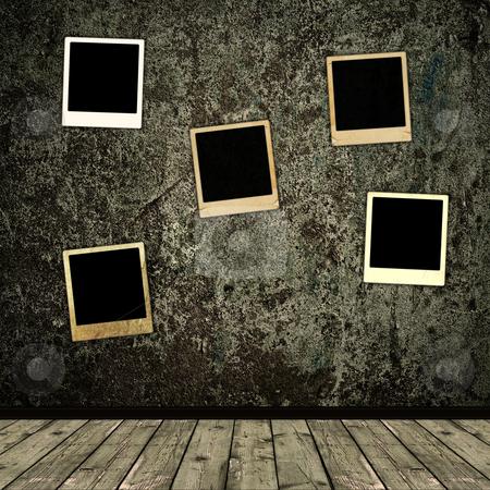 Old photo frames stock photo, Old photo frames over the grunge wall background by Sergej Razvodovskij