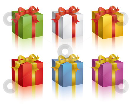 Colorful presents stock vector clipart, Set of colorful shiny vector gift boxes. by Claudiu Badea