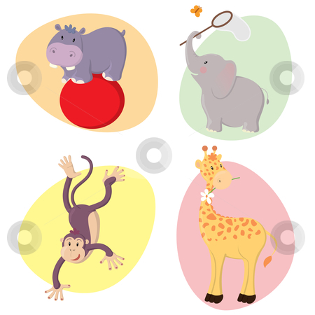 Cute Animals stock vector clipart, Set of cute happy vector jungle animals : hippo, elephant, monkey, giraffe. by Claudiu Badea