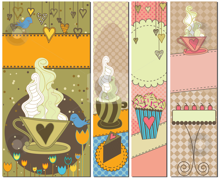 Four Sweet Coffee and Dessert Banners stock vector clipart, Set of four colorful coffee and dessert banners by Linnea Eriksson