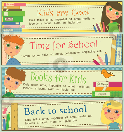 Kids in School Banners stock vector clipart, Set of 4 banners with cute kids and books. by Linnea Eriksson