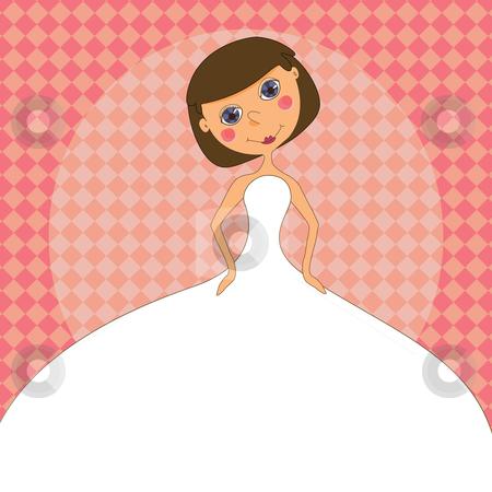 Wedding invitation with a cartoon Bride in a white wedding dress stock vector clipart, A bride in white gown on a wedding invitation. by Linnea Eriksson