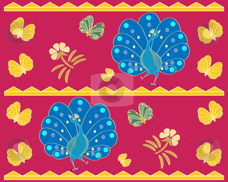 Exotic design stock vector clipart, Exotic background illustrationwith stylised peacocks butterflies and flowers in asian style by Mike Smith