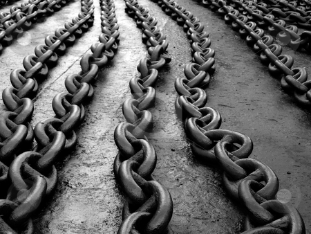 Chain links stock photo, Ships anchor chain on the floor after painting... by Sinisa Botas