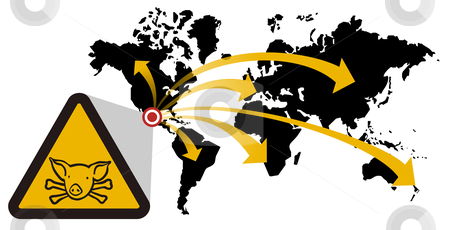 Risk of global epidemic of swine flu stock vector clipart, Warning sign of swine flu that extends from Mexico to the world. Vector available by Cienpies Design