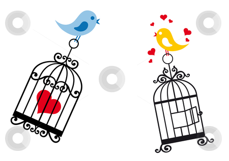 Birds in love with birdcage stock vector clipart, Love birds with birdcage and heart, vector background by Beata Kraus