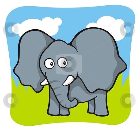 Elephant cartoon stock vector clipart, Cute baby elephant cartoon on sky and grass background by fractal.gr