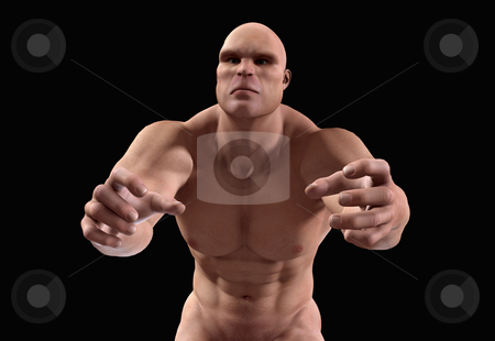 I Am Coming To Get You stock photo, A big strong thuggish man who is being threatening. by Chris Harvey
