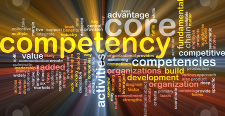 Core competency word cloud glowing stock photo, Word cloud concept illustration of core comptency glowing light effect by Kheng Guan Toh