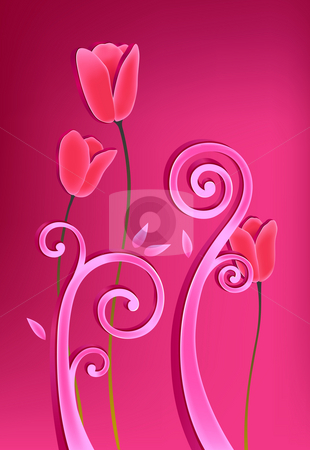 Flower stock photo, Drawing of beautiful tulip flower in a red background by Su Li