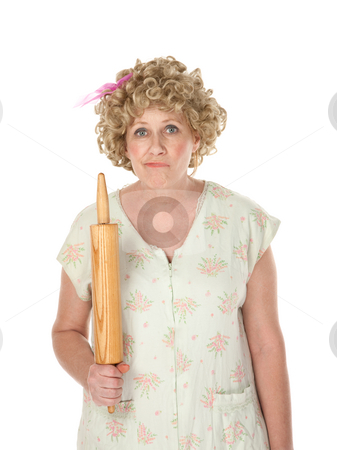 Rolling Pin Face stock photo, Woman making faces with rolling pin on white background by Scott Griessel