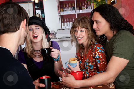 Good times stock photo, Couples and good friends chat in a cafe by Scott Griessel