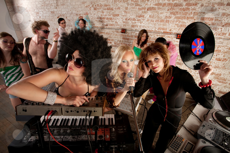 1970s Disco Music Party stock photo, Cool female DJs performing at a 1970s Disco Music Party by Scott Griessel