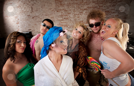 1970s Disco Music Party stock photo, Funny woman in curlers teased at a 1970s Disco Music Party by Scott Griessel