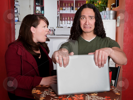 Caught stock photo, Man caught with some embarrassing content on a laptop by Scott Griessel