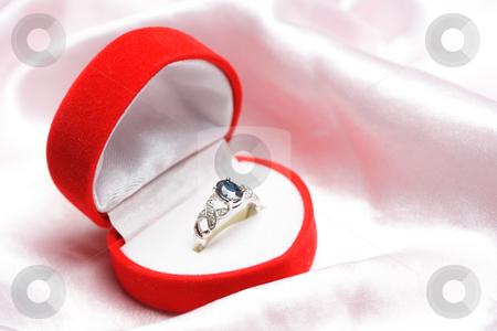 Diamond ring stock photo, A diamond sapphire ring in a jewelry box by Suprijono Suharjoto
