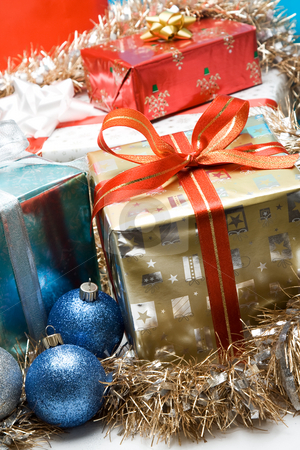 Christmas gifts stock photo, A shot of christmas gifts and ornaments by Suprijono Suharjoto