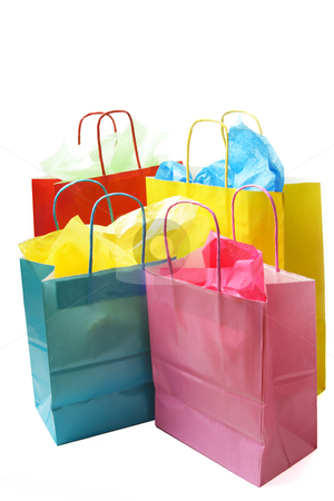 Shopping bags stock photo, An isolated shot of colorful shopping bags by Suprijono Suharjoto