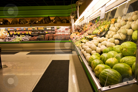 Grocery store or supermarket stock photo, A shot of a produce section in a grocery store or supermarket by Suprijono Suharjoto