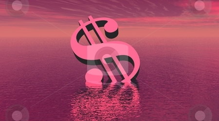 Drowning violet dollar stock photo, One dollar drowning in the sea by violet day light by Elenarts