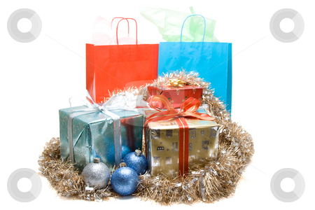 Christmas gifts stock photo, A shot of christmas presents with gift boxes and ornaments by Suprijono Suharjoto
