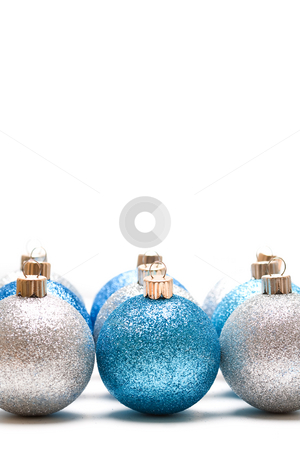 Christmas ornaments stock photo, An isolated shot of blue and silver christmas ornaments by Suprijono Suharjoto