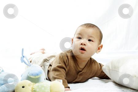 Cute baby stock photo, A happy cute baby boy (isolated white) by Suprijono Suharjoto