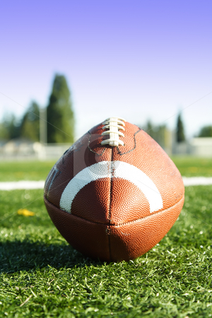 American football stock photo, An american football on a football field by Suprijono Suharjoto