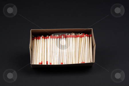 Box of Kitchen Matches stock photo, A box of kitchen matches isolated on a black background. by Carl Stewart