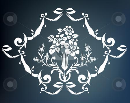 Flower pattern stock photo, Illustration drawing of beautiful white flower pattern by Su Li