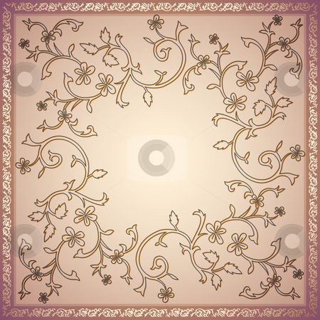Retro flower pattern stock photo, Illustration drawing of beautiful colourful flower pattern by Su Li