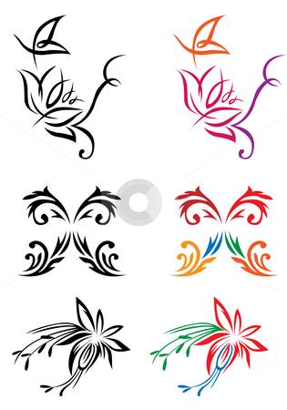 Flower pattern stock photo, Drawing of flower pattern in a white background by Su Li