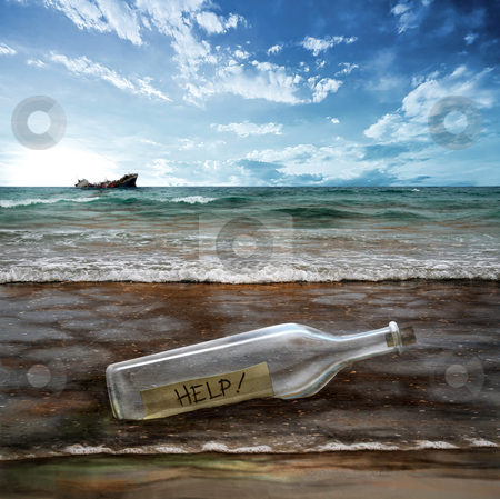 Help the environment! stock photo, Help message in a bottle with background contaminated sea by Giordano Aita