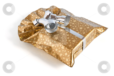 Golden gift box stock photo, Golden gift box with silver ribbon isolated on white background with clipping path by ANTONIO SCARPI