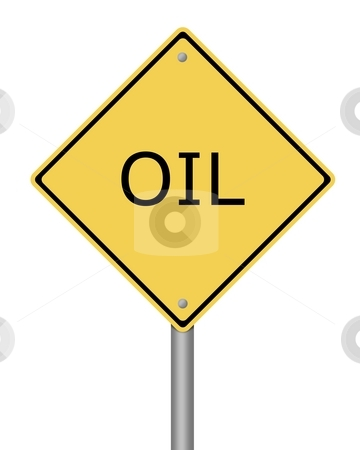 Warning Sign Oil stock photo, Yellow warning sign with the text oil in it by Henrik Lehnerer