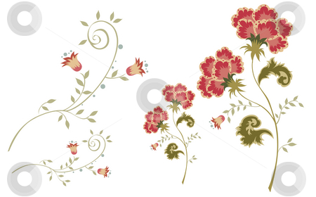 Flower stock photo, Drawing of beautiful flowers in a white background by Su Li
