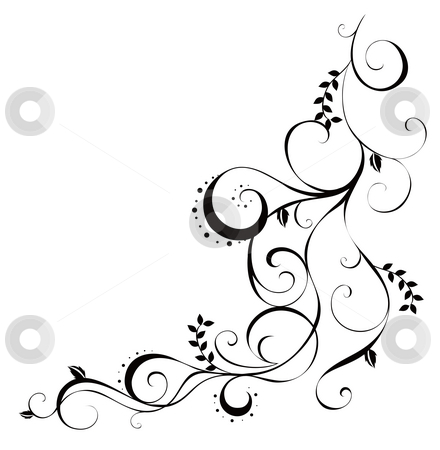 Vines and leaves pattern stock photo, Drawing of beautiful vine in a white background by Su Li
