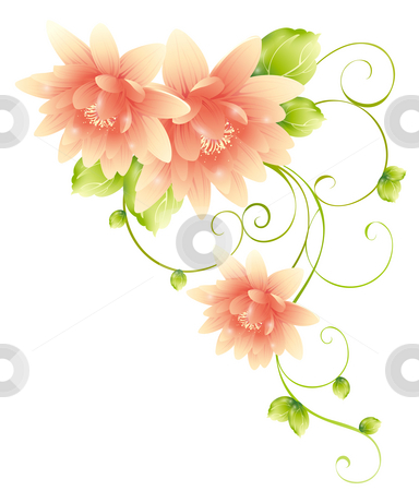 Flower stock photo, Drawing of beautiful flowers with green leaves by Su Li