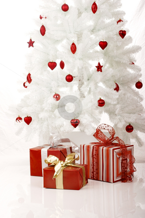Christmas Tree stock photo, White Christmas Tree with Gifts isolated on white by ikostudio