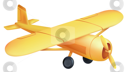 Airplane stock photo, Drawing of beautiful yellow airplane in a white background by Su Li