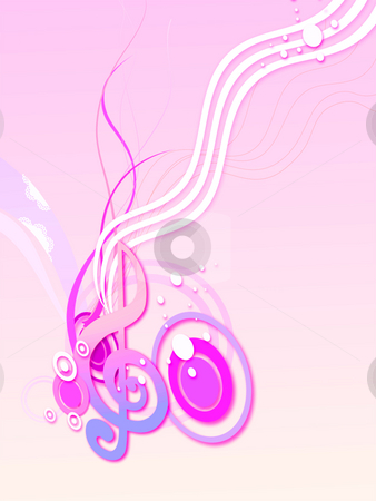 Music symbol stock photo, Illustration drawing of beautiful pink music symbol by Su Li