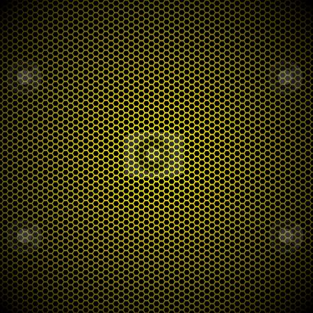 Hexagon gold metal background stock vector clipart, Gold metal hexagon grill background with light reflection by Michael Travers