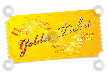 Golden ticket stock vector clipart, Golden winning prize ticket illustration with floral elements by Michael Travers
