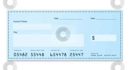 Bank cheque old style stock vector clipart, Blue dollar old style bank cheque blank for your business by Michael Travers