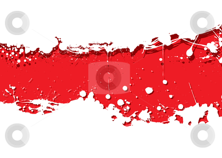 Grunge strip background red splat stock vector clipart, Red background with white ink splat background and shadow by Michael Travers