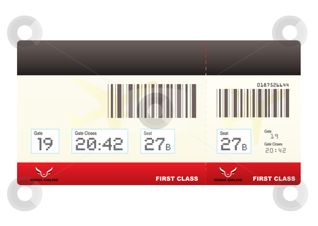 Plane tickets first class swipe stock vector clipart, First class plane ticket or boarding pass in red with barcode by Michael Travers
