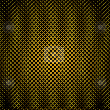 Diamond gold grill background stock vector clipart, Golden diamond pattern background with highlight edges and shadow by Michael Travers