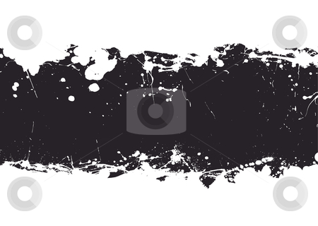 Black ink splat banner stock vector clipart, Ink splat banner with white background and black grunge effect by Michael Travers